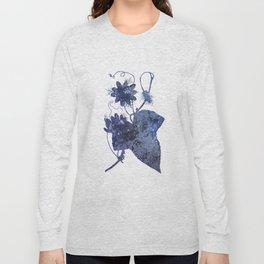 Watercolor Indigo Passion Flower Long Sleeve T-shirt