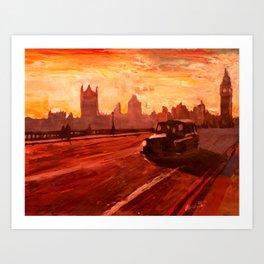London Taxi Big Ben Sunset with Parliament  Art Print