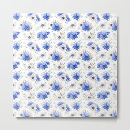 Blue Meadow Pattern 2 Metal Print