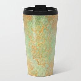 Grunge Garden Canvas Texture:  Gold and Green Baroque Nature Print Travel Mug