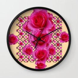 Red & Cream Fuchsia Roses Pattern Wall Clock