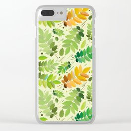 abstract, acorn, background, branch, color, cover, crocket, foiling, foliage, green, greens, impress Clear iPhone Case