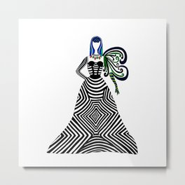 Abstract geometric quirky lady Metal Print