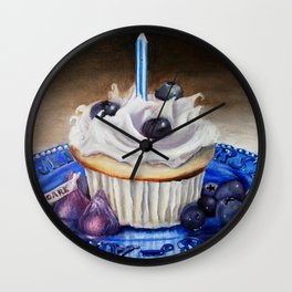 Celebration In Blue Cupcake Painting Wall Clock