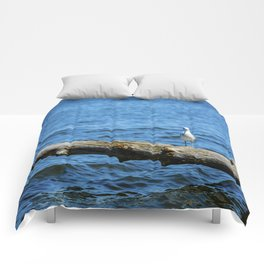 Sea Gull on driftwood Comforters