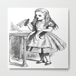 Alice in Wonderland Drink Me Bottle Transparent Background Metal Print