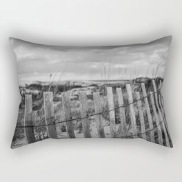 Black and White Beach Fence Rectangular Pillow