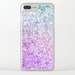 Frozen, close up photograph of snow and ice Clear iPhone Case