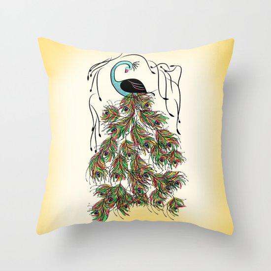 Vibrant Jungle Peacock Throw Pillow