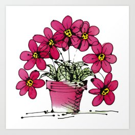 Seven Flowers (Pink): gorgeously simple original art, vibrant flowers in a pot Art Print