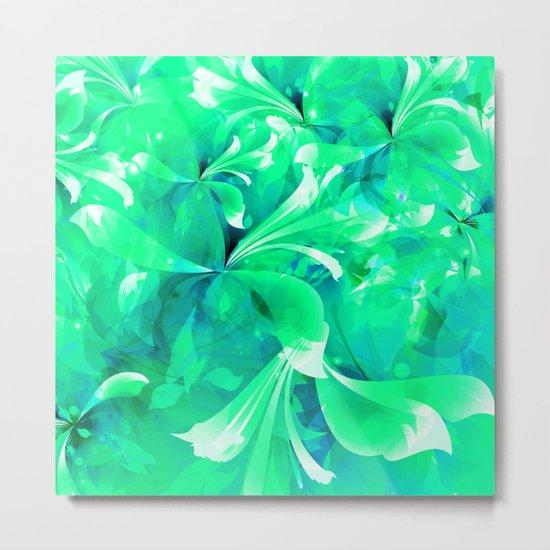 Stylized flowers in green Metal Print