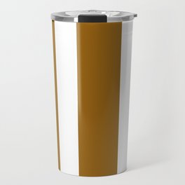 Mixed Vertical Stripes - White and Golden Brown Travel Mug
