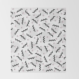 Old School Retro Funky Memphis 80's Pattern Black White Grey Pink Throw Blanket