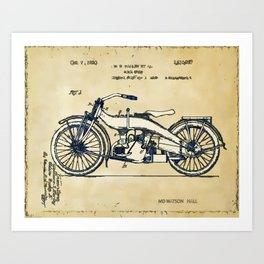 HD Motorcycle Patent - Circa 1924 Art Print