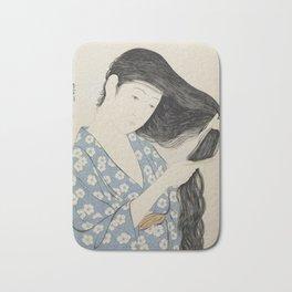 Woman in Blue Combing Her Hair - Hashiguchi Goyo Bath Mat