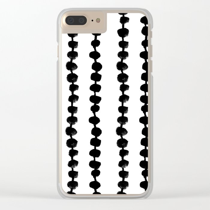 Linocut black and white dots pattern minimalist home decor nursery trendy dotted pattern Clear iPhone Case