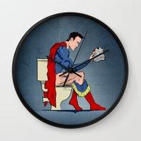 superheros Wall Clocks featuring Superhero On Toilet by WyattDesign
