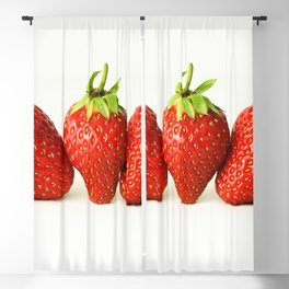 Three Strawberries On White Blackout Curtain