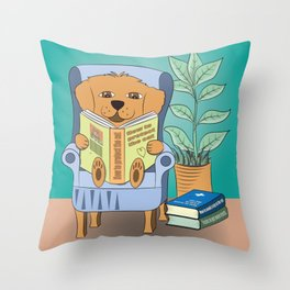 Dog Reading Throw Pillow