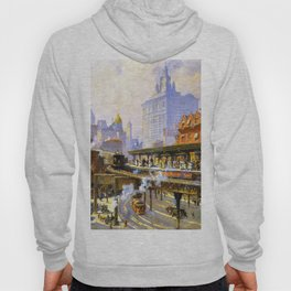 Elevated Subway at Chatham Square New York City landscape painting by Colin Campbell Cooper  Hoody