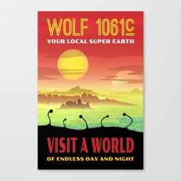 Exoplanet Wolf 1061c Retro Space Travel Illustration Canvas Print