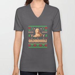 Ugly Golden Doodle Dog Christmas Computer Xmas Apparel Funny Unisex V-Neck