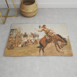 C.M. Russell Vintage Western Rider Of The Rough String Rug