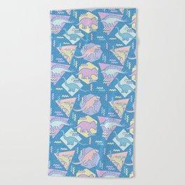 Nineties Dinosaurs Pattern  - Pastel version Beach Towel