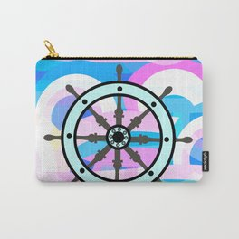 Ship's wheel on abstract marine background Carry-All Pouch