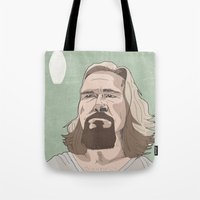 lebowski Tote Bags featuring Lebowski by Hero of Switzwerland / Dan Button //