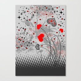 Abstract background with red hearts Canvas Print