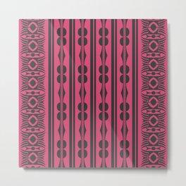 African Ethnic Tribal Motif Striped Pink Pattern Metal Print