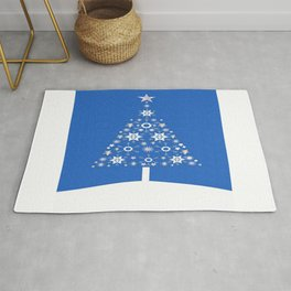 Christmas Tree Of Snowflakes and Stars On Blue Background Rug