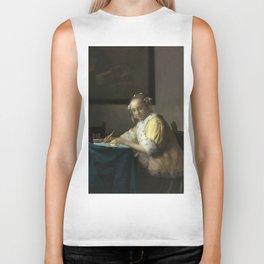 A Lady Writing Oil Painting by Johannes Vermeer Biker Tank