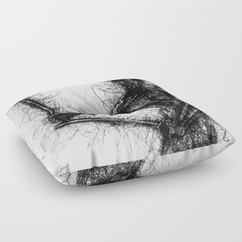 Bruce Kung Fu Master Lee, Drawing, Wall Art, Kung … Square Floor Pillow by Juliolucas FPL8502345