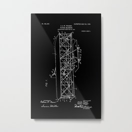 Wright Brothers Patent: Flying Machine - White on Black Metal Print