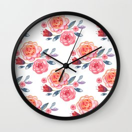 Pink Watercolor Floral Pattern Wall Clock