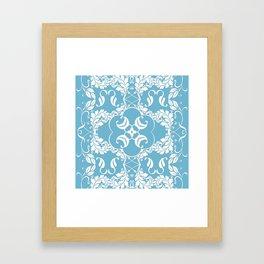 Blue Leaf Lace Framed Art Print