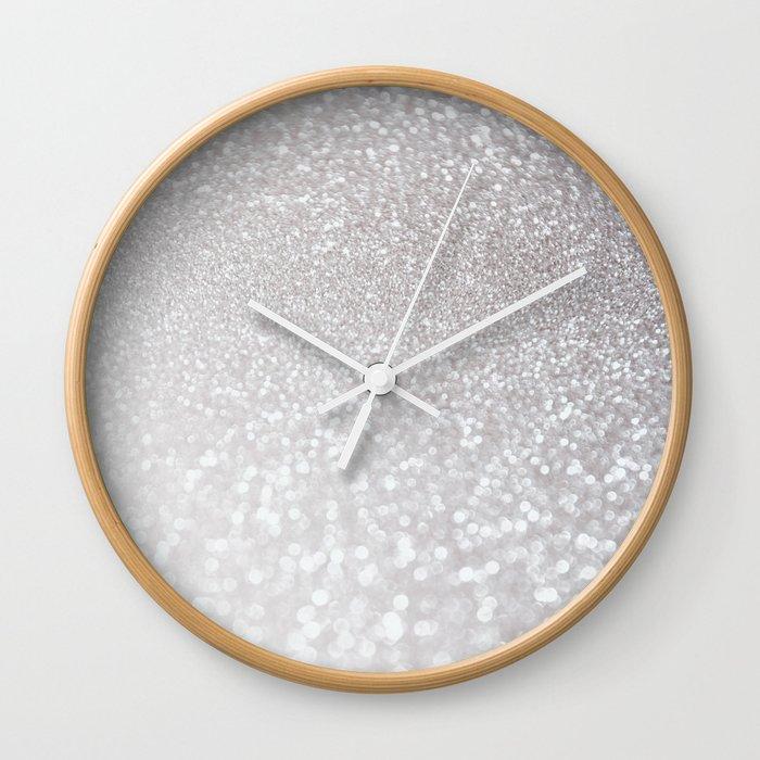 Silver Ice Glitter Effect Luxury Design Wall Clock By Betterhome