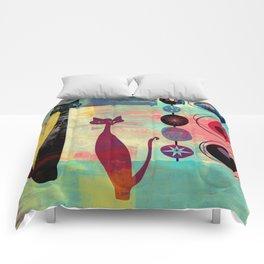 Mid-Century Modern 2 Cats - Graffiti Style Comforters