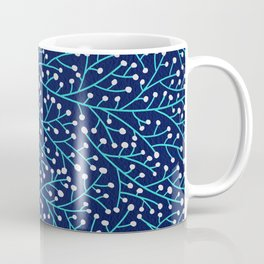 Berry Branches - Turquoise on Navy Coffee Mug