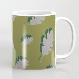Oak leaves pattern guacamole gray Coffee Mug