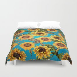 Vintage & Shabby Chic - Sunflowers on Turqoise Duvet Cover