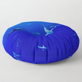 Swarm of Sharks (Color) Floor Pillow