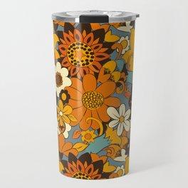 70s Retro Flower Power 60s floral Pattern Orange yellow Blue Travel Mug