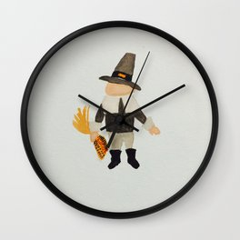 November Thanksgiving Pilgrim Puritan Baby Boy Toddler Wall Clock