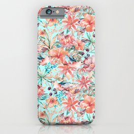 Tropical Jungle Flowers And Birds In Soft Pastels iPhone Case