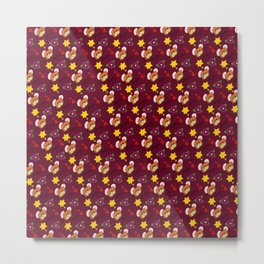 Hammy Pattern in Burgandy / Deep Red Metal Print