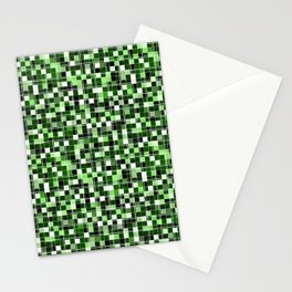 Grey, white, black, green, mint mosaic. Stationery Cards