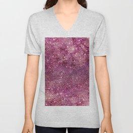 Modern chic faux glitter girly purple pattern Unisex V-Neck